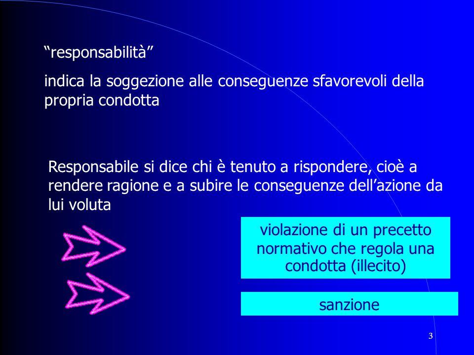 """3 """"responsabilità"""" indica la soggezione alle conseguenze sfavorevoli della propria condotta Responsabile si dice chi è tenuto a rispondere, cioè a ren"""