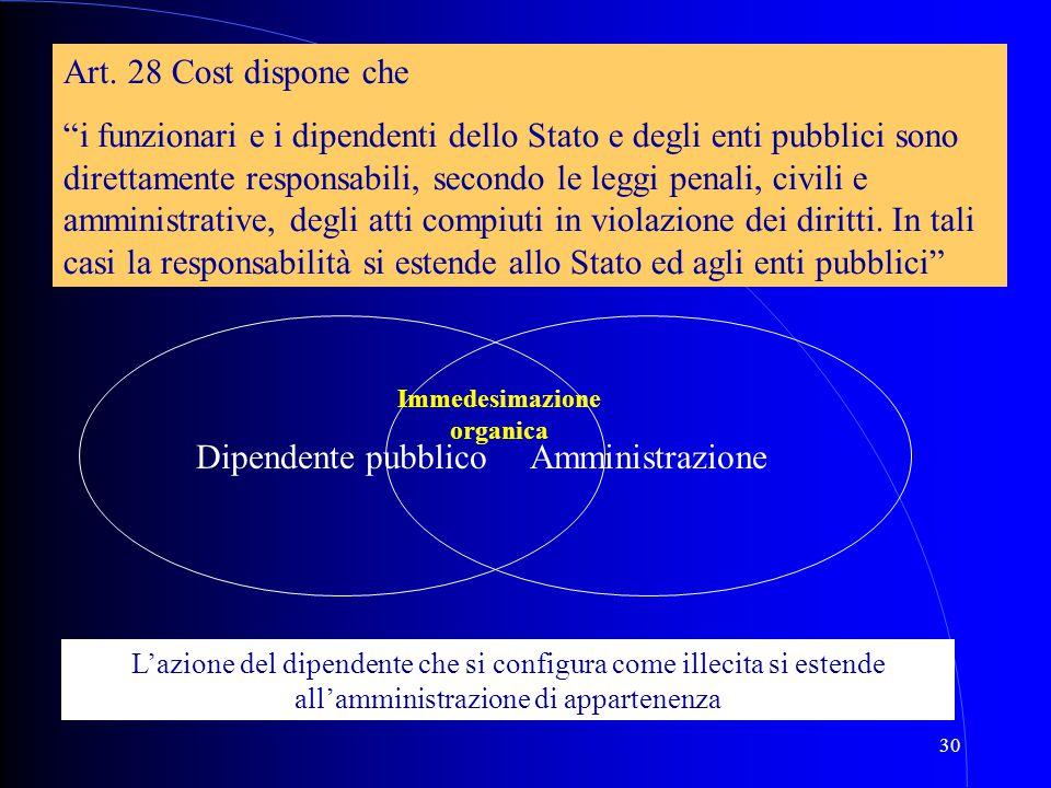 """30 Amministrazione Art. 28 Cost dispone che """"i funzionari e i dipendenti dello Stato e degli enti pubblici sono direttamente responsabili, secondo le"""