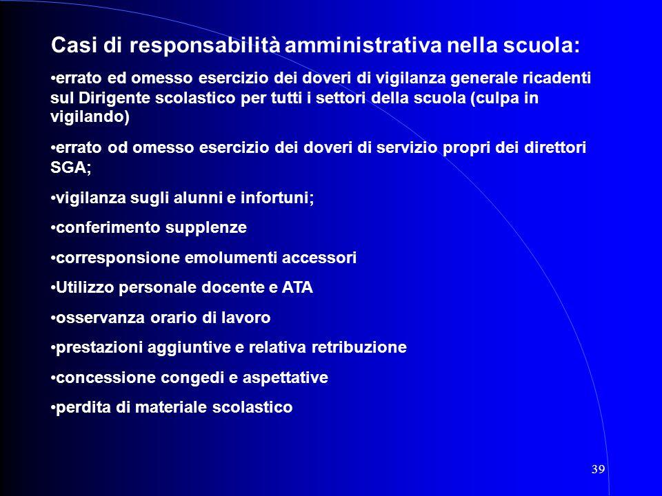 39 Casi di responsabilità amministrativa nella scuola: errato ed omesso esercizio dei doveri di vigilanza generale ricadenti sul Dirigente scolastico