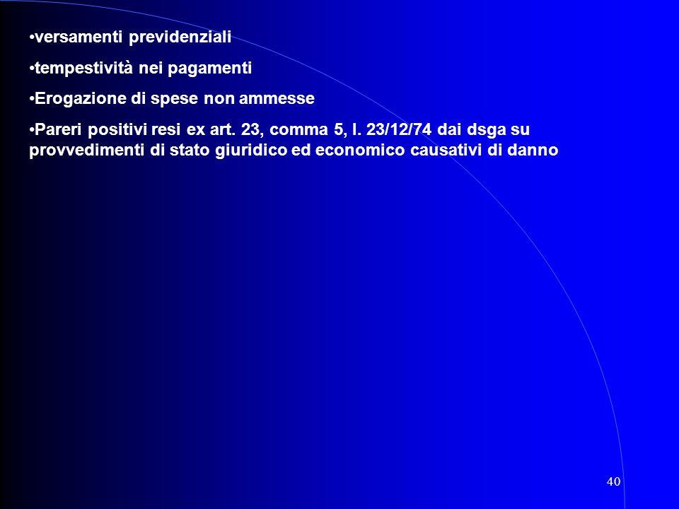 40 versamenti previdenziali tempestività nei pagamenti Erogazione di spese non ammesse Pareri positivi resi ex art. 23, comma 5, l. 23/12/74 dai dsga