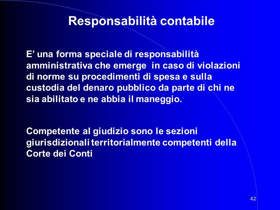42 Responsabilità contabile E' una forma speciale di responsabilità amministrativa che emerge in caso di violazioni di norme su procedimenti di spesa