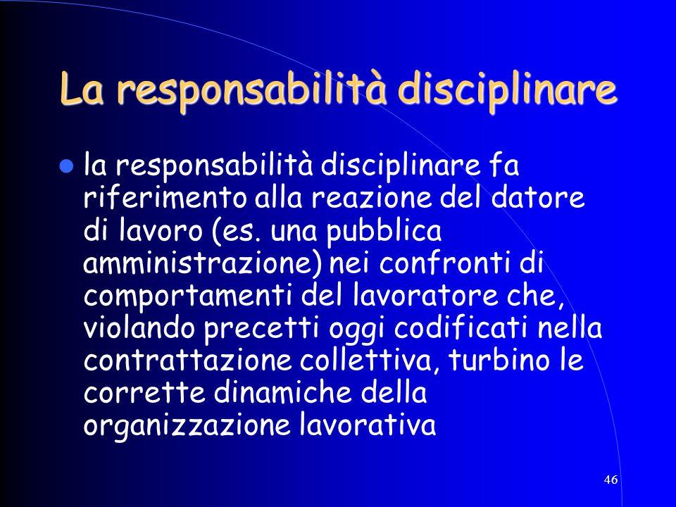 46 La responsabilità disciplinare la responsabilità disciplinare fa riferimento alla reazione del datore di lavoro (es. una pubblica amministrazione)