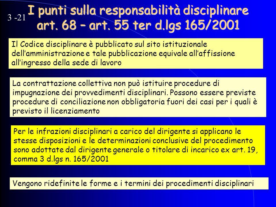 I punti sulla responsabilità disciplinare art. 68 – art. 55 ter d.lgs 165/2001 Il Codice disciplinare è pubblicato sul sito istituzionale dell'amminis