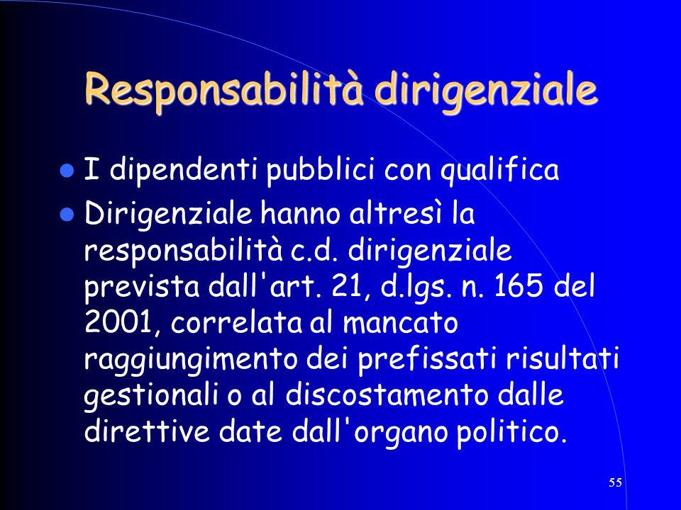 55 Responsabilità dirigenziale I dipendenti pubblici con qualifica Dirigenziale hanno altresì la responsabilità c.d. dirigenziale prevista dall'art. 2