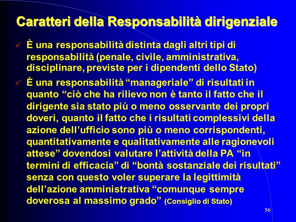 56 Caratteri della Responsabilità dirigenziale È una responsabilità distinta dagli altri tipi di responsabilità (penale, civile, amministrativa, disci