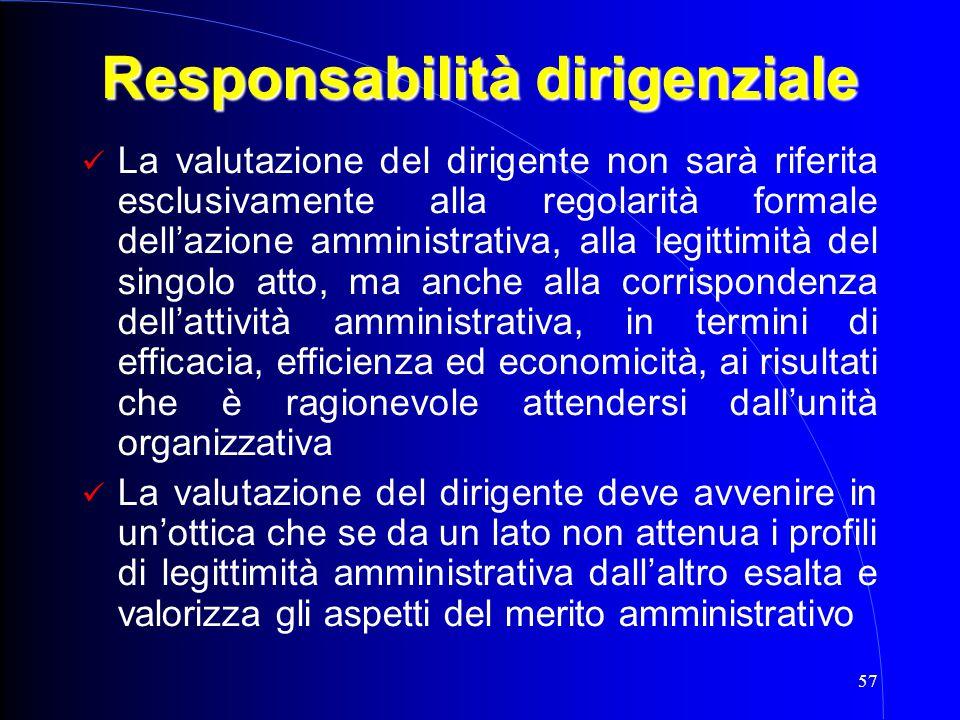 57 Responsabilità dirigenziale La valutazione del dirigente non sarà riferita esclusivamente alla regolarità formale dell'azione amministrativa, alla