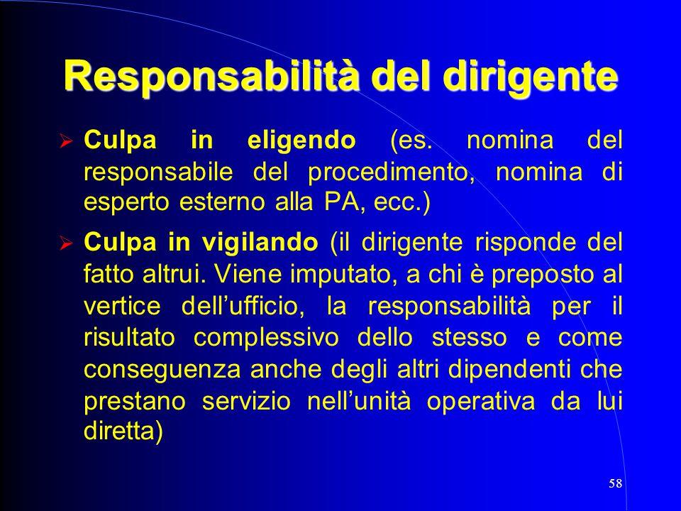 58 Responsabilità del dirigente  Culpa in eligendo (es. nomina del responsabile del procedimento, nomina di esperto esterno alla PA, ecc.)  Culpa i