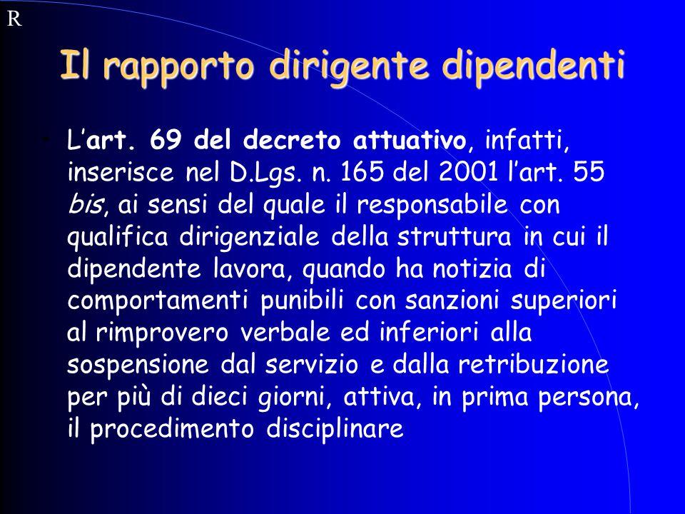 Il rapporto dirigente dipendenti L'art. 69 del decreto attuativo, infatti, inserisce nel D.Lgs. n. 165 del 2001 l'art. 55 bis, ai sensi del quale il r