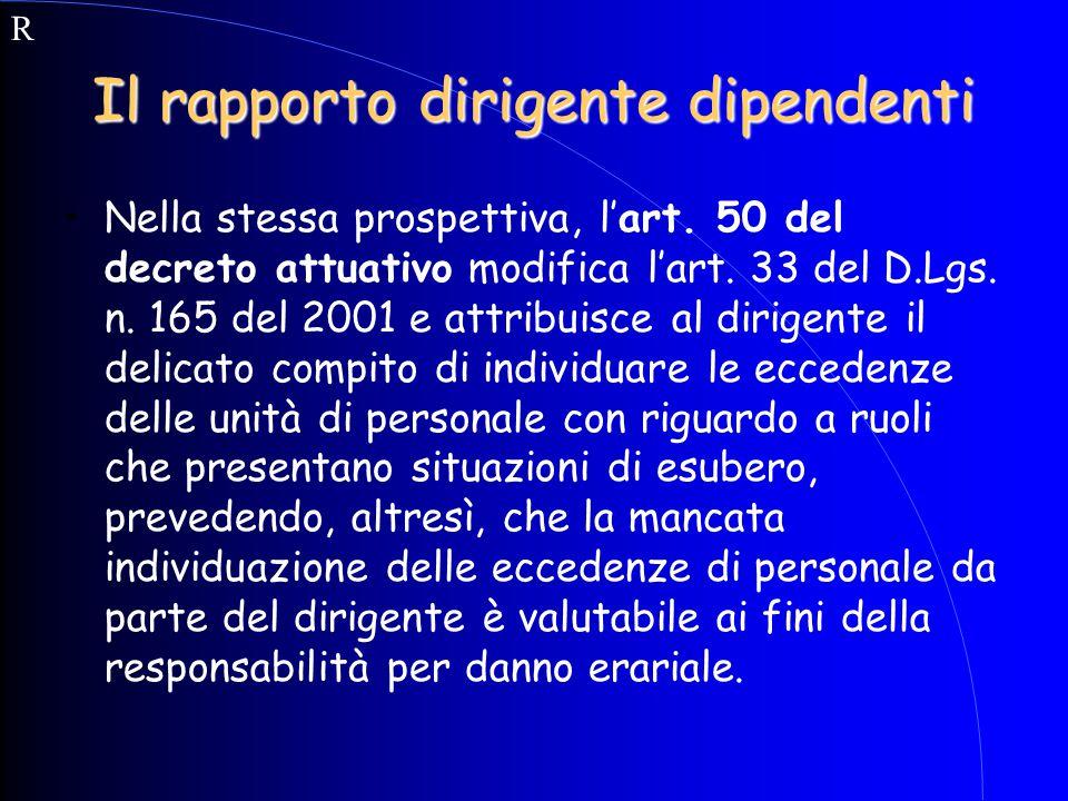 Il rapporto dirigente dipendenti Nella stessa prospettiva, l'art. 50 del decreto attuativo modifica l'art. 33 del D.Lgs. n. 165 del 2001 e attribuisce