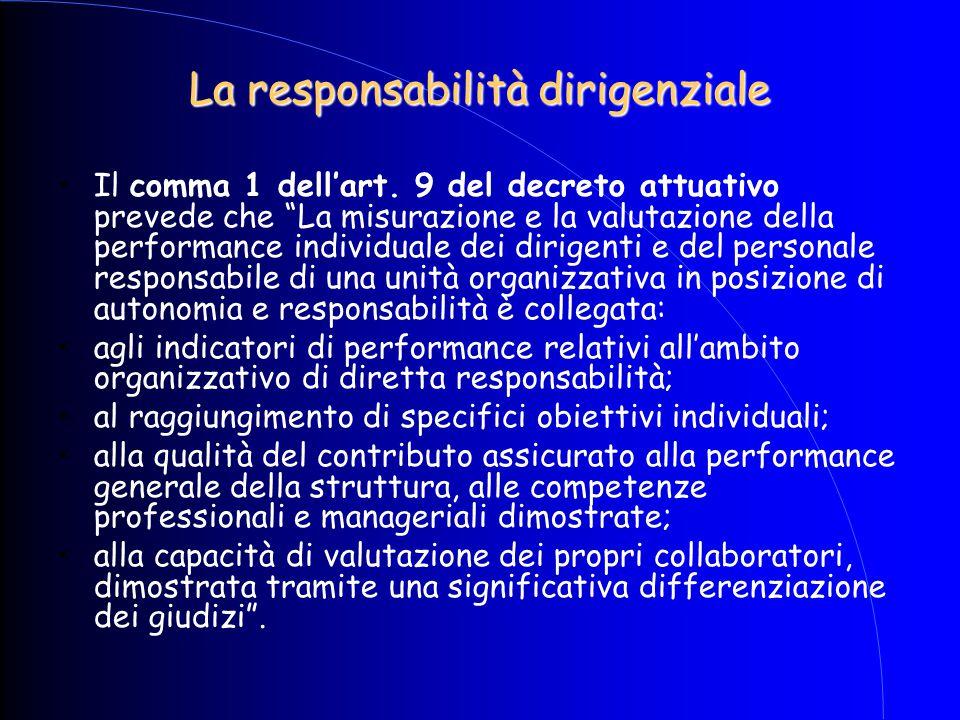 """La responsabilità dirigenziale Il comma 1 dell'art. 9 del decreto attuativo prevede che """"La misurazione e la valutazione della performance individuale"""