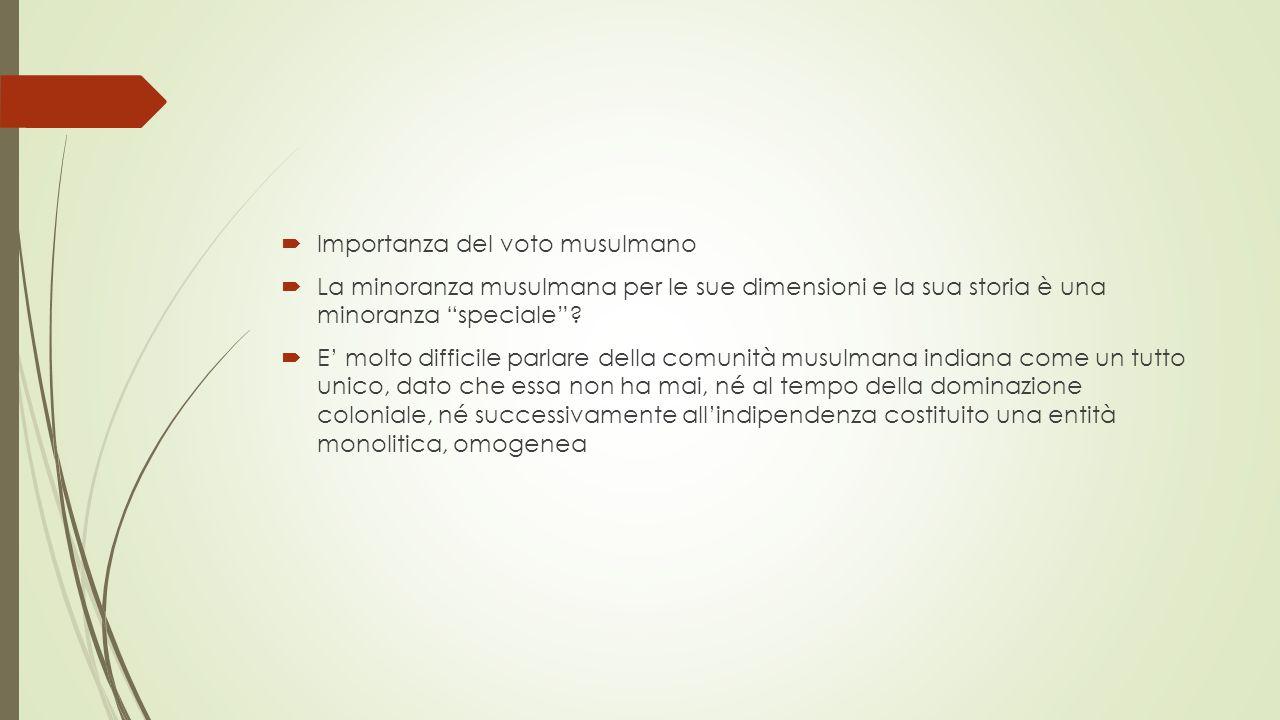  Importanza del voto musulmano  La minoranza musulmana per le sue dimensioni e la sua storia è una minoranza speciale .