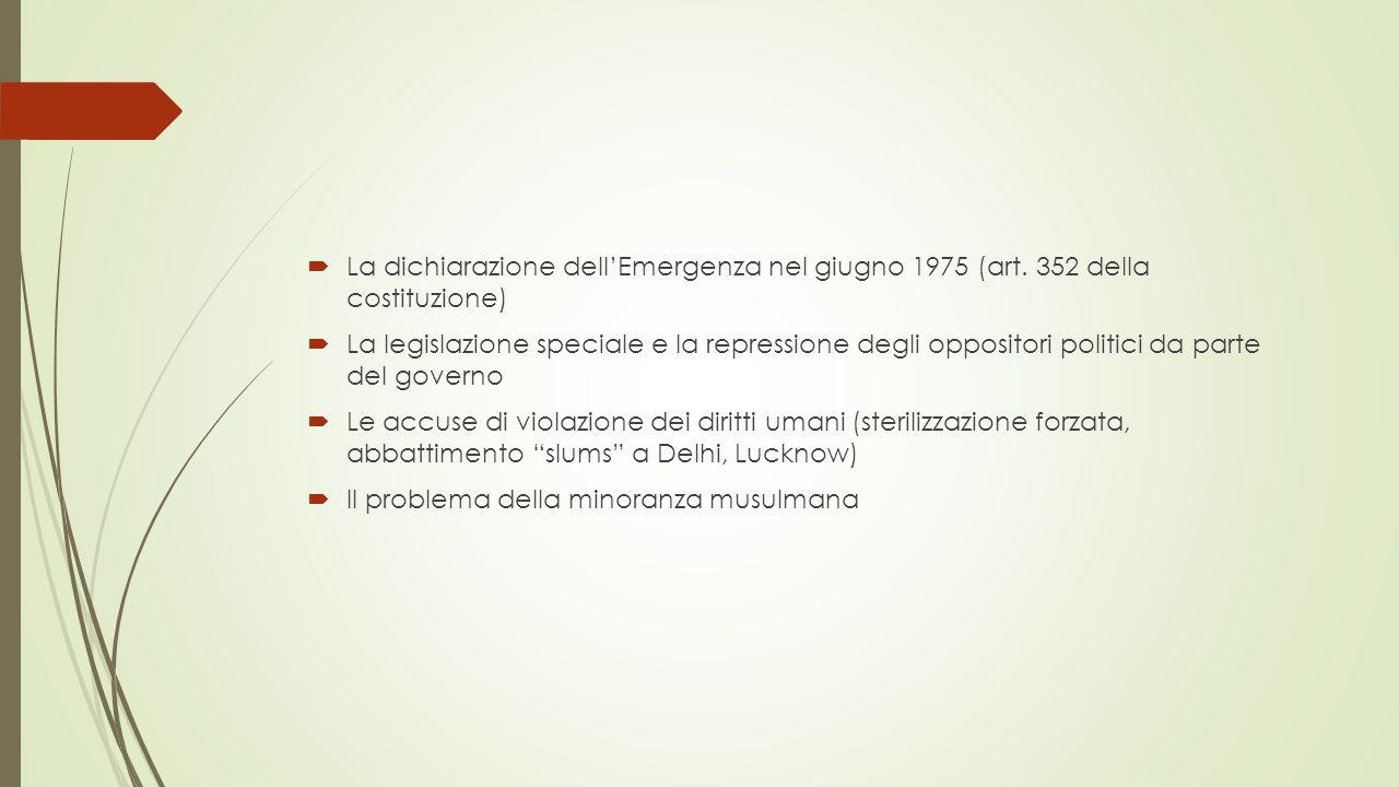  La dichiarazione dell'Emergenza nel giugno 1975 (art.