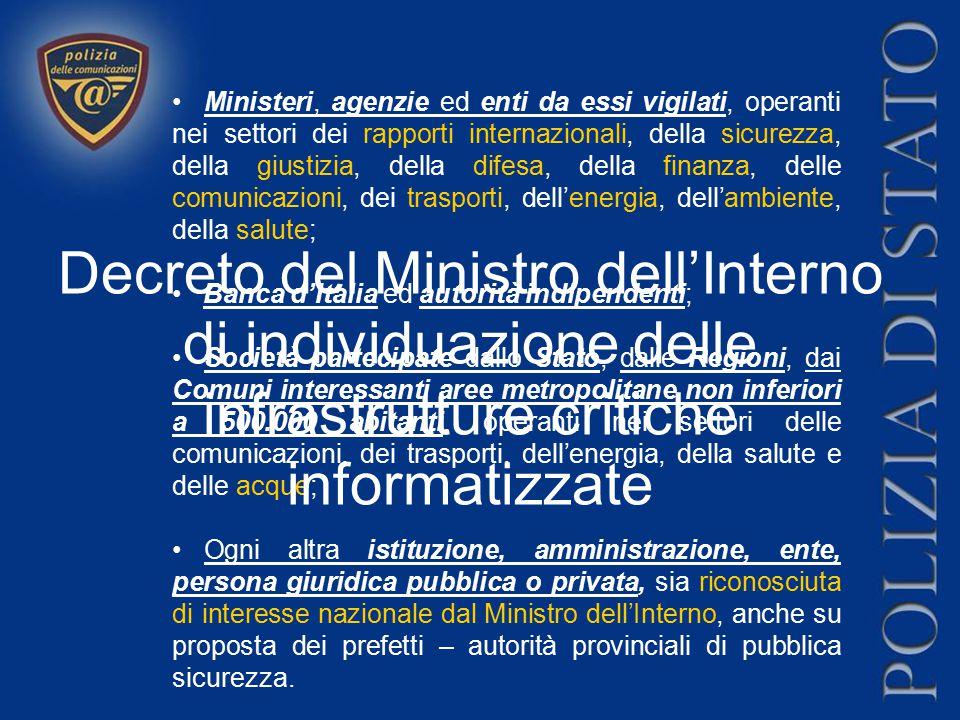 Ministeri, agenzie ed enti da essi vigilati, operanti nei settori dei rapporti internazionali, della sicurezza, della giustizia, della difesa, della f