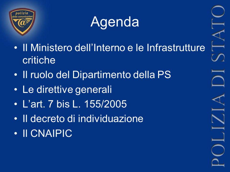 Agenda Il Ministero dell'Interno e le Infrastrutture critiche Il ruolo del Dipartimento della PS Le direttive generali L'art. 7 bis L. 155/2005 Il dec