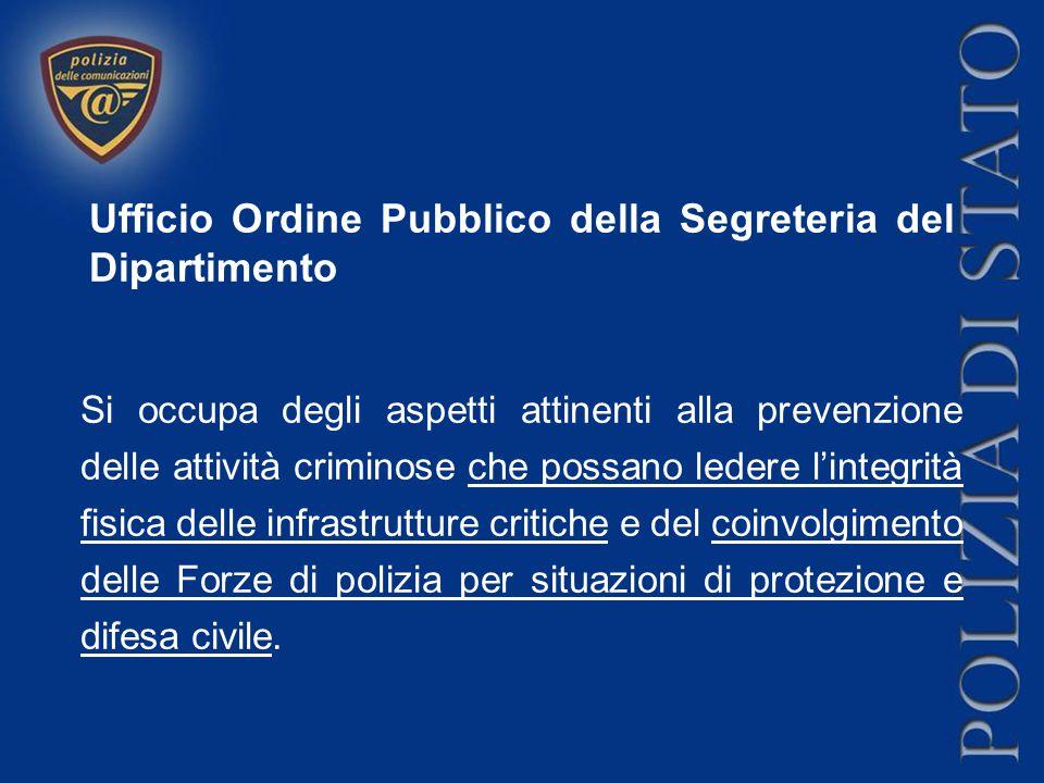 Ufficio Ordine Pubblico della Segreteria del Dipartimento Si occupa degli aspetti attinenti alla prevenzione delle attività criminose che possano lede