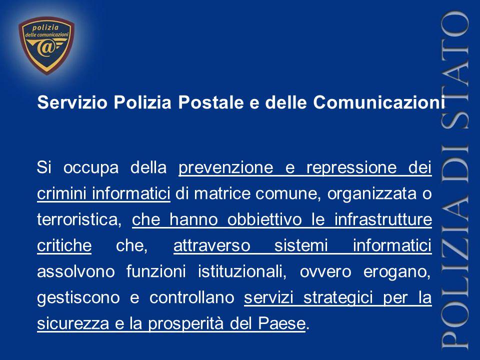 Servizio Polizia Postale e delle Comunicazioni Si occupa della prevenzione e repressione dei crimini informatici di matrice comune, organizzata o terr
