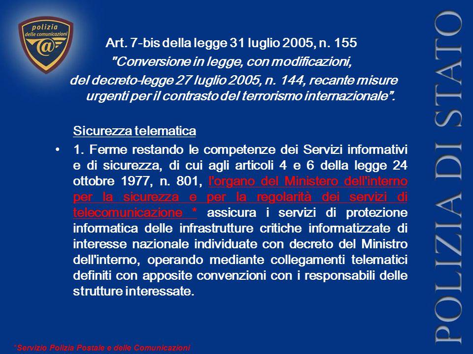 Art.7-bis della legge 31 luglio 2005, n.