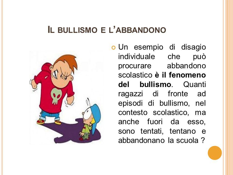 I L BULLISMO E L ' ABBANDONO Un esempio di disagio individuale che può procurare abbandono scolastico è il fenomeno del bullismo.