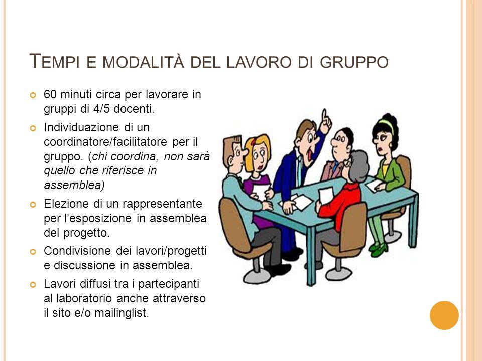T EMPI E MODALITÀ DEL LAVORO DI GRUPPO 60 minuti circa per lavorare in gruppi di 4/5 docenti.
