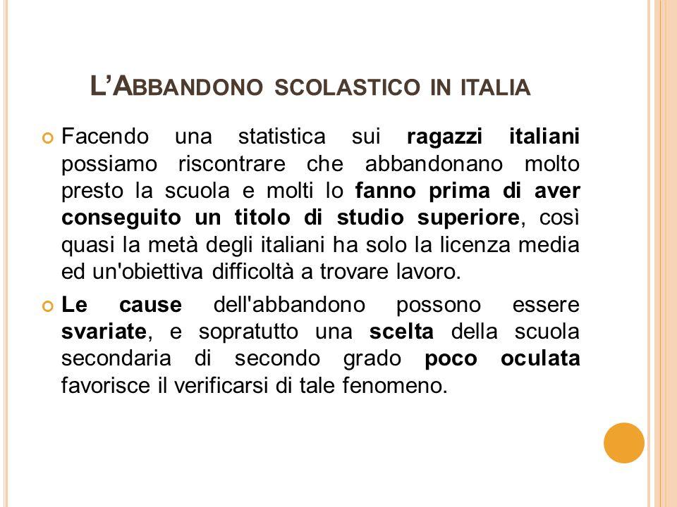I DATI DELL ' ABBANDONO SCOLASTICO 2011