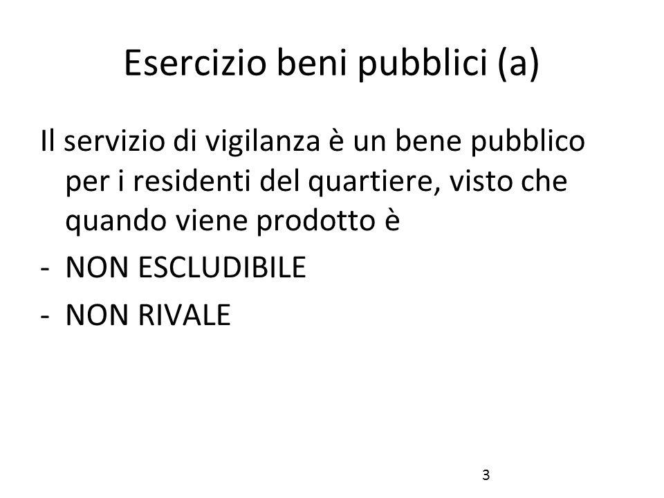 3 Esercizio beni pubblici (a) Il servizio di vigilanza è un bene pubblico per i residenti del quartiere, visto che quando viene prodotto è -NON ESCLUDIBILE -NON RIVALE