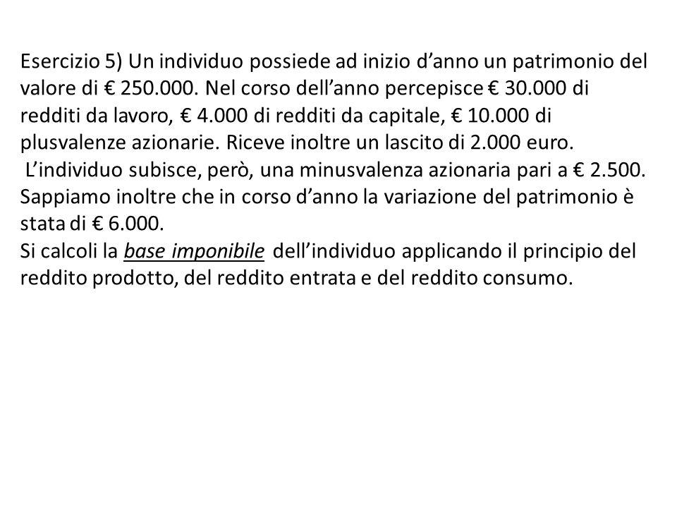 Esercizio 5) Un individuo possiede ad inizio d'anno un patrimonio del valore di € 250.000.