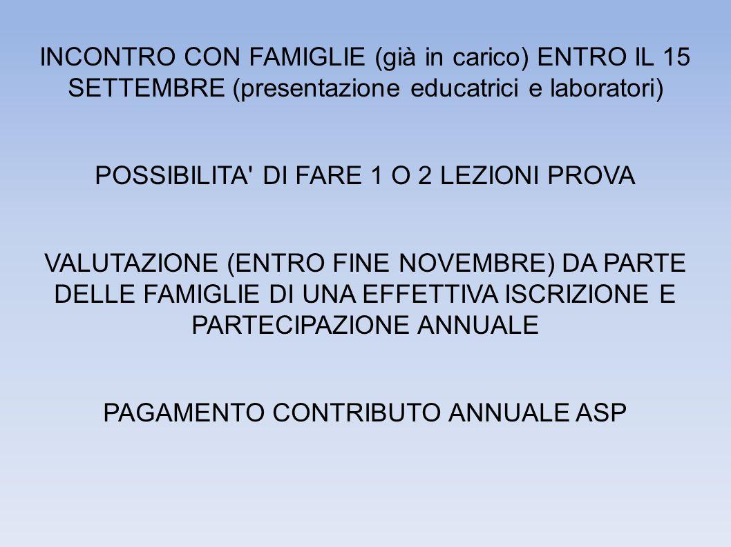 INCONTRO CON FAMIGLIE (già in carico) ENTRO IL 15 SETTEMBRE (presentazione educatrici e laboratori) POSSIBILITA DI FARE 1 O 2 LEZIONI PROVA VALUTAZIONE (ENTRO FINE NOVEMBRE) DA PARTE DELLE FAMIGLIE DI UNA EFFETTIVA ISCRIZIONE E PARTECIPAZIONE ANNUALE PAGAMENTO CONTRIBUTO ANNUALE ASP