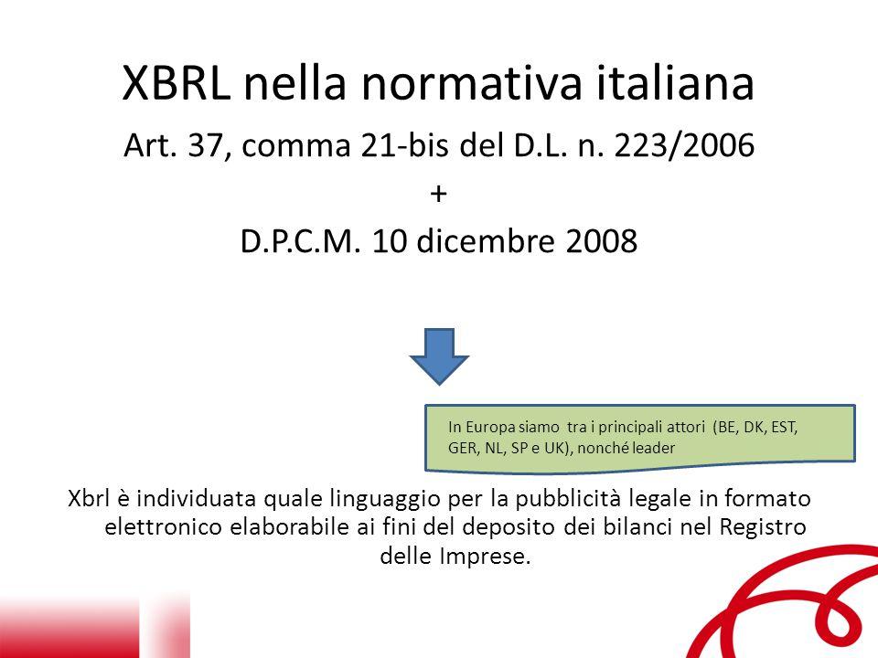 Cosa è XBRL L'acronimo XBRL sta per eXtensible Business Reporting Language – X per eXtensible : flessibile o adattabile alle diverse esigenze – B per Business – R per Reporting : il linguaggio può etichettare concetti – per esempio vendite, entrate nette, spese ecc… - in modo che questi concetti possano essere condivisi tra i diversi Stakeholders (regolatori, investitori, analisti, finanziatori, ecc.) – L per Language : è un linguaggio informatico cosiddetto di mark-up (marcatura) basato sullo standard HTML, utilizzato per etichettare informazioni e definire le relazioni tra le stesse.
