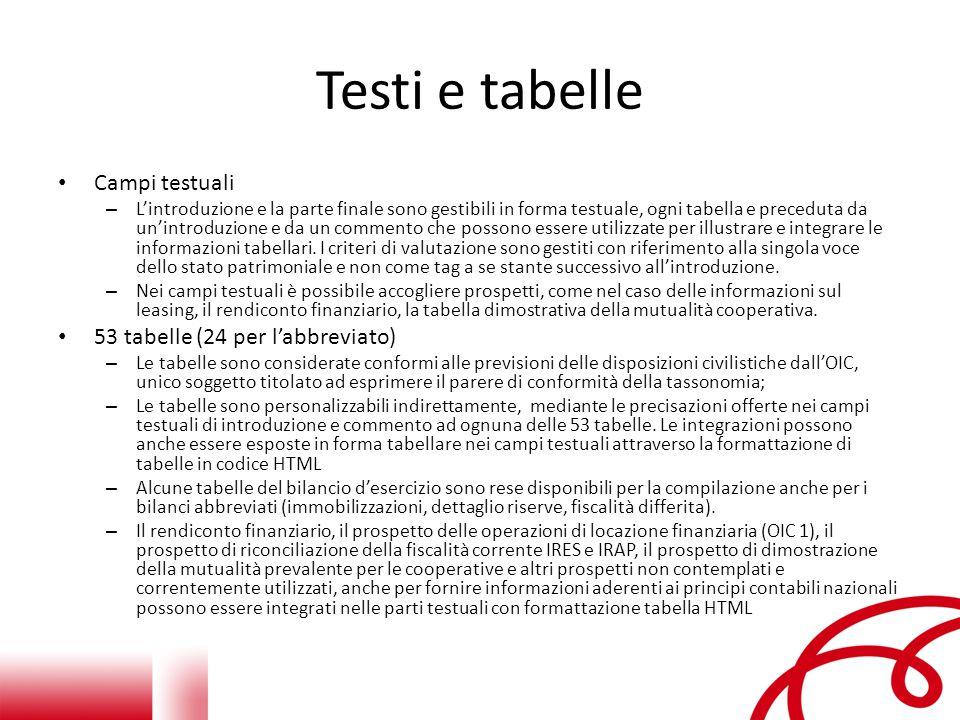 Testi e tabelle Campi testuali – L'introduzione e la parte finale sono gestibili in forma testuale, ogni tabella e preceduta da un'introduzione e da un commento che possono essere utilizzate per illustrare e integrare le informazioni tabellari.
