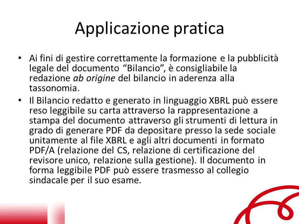 Applicazione pratica Ai fini di gestire correttamente la formazione e la pubblicità legale del documento Bilancio , è consigliabile la redazione ab origine del bilancio in aderenza alla tassonomia.