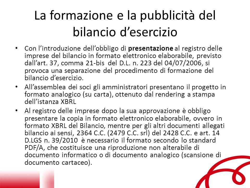 La formazione e la pubblicità del bilancio d'esercizio Con l'introduzione dell'obbligo di presentazione al registro delle imprese del bilancio in formato elettronico elaborabile, previsto dall'art.