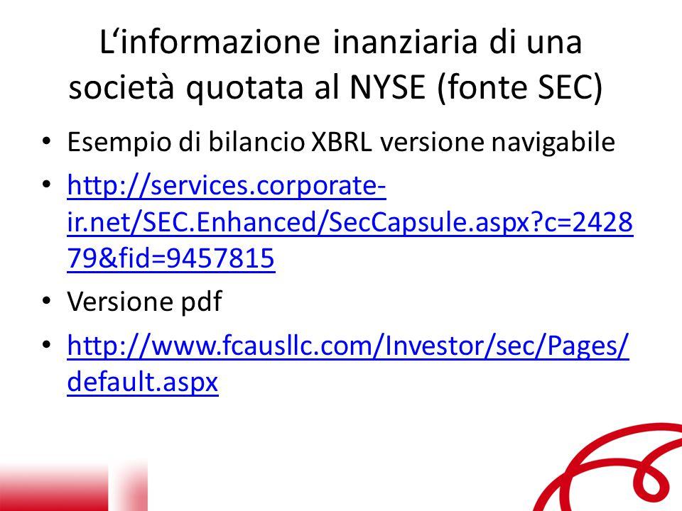 L'informazione inanziaria di una società quotata al NYSE (fonte SEC) Esempio di bilancio XBRL versione navigabile http://services.corporate- ir.net/SEC.Enhanced/SecCapsule.aspx?c=2428 79&fid=9457815 http://services.corporate- ir.net/SEC.Enhanced/SecCapsule.aspx?c=2428 79&fid=9457815 Versione pdf http://www.fcausllc.com/Investor/sec/Pages/ default.aspx http://www.fcausllc.com/Investor/sec/Pages/ default.aspx