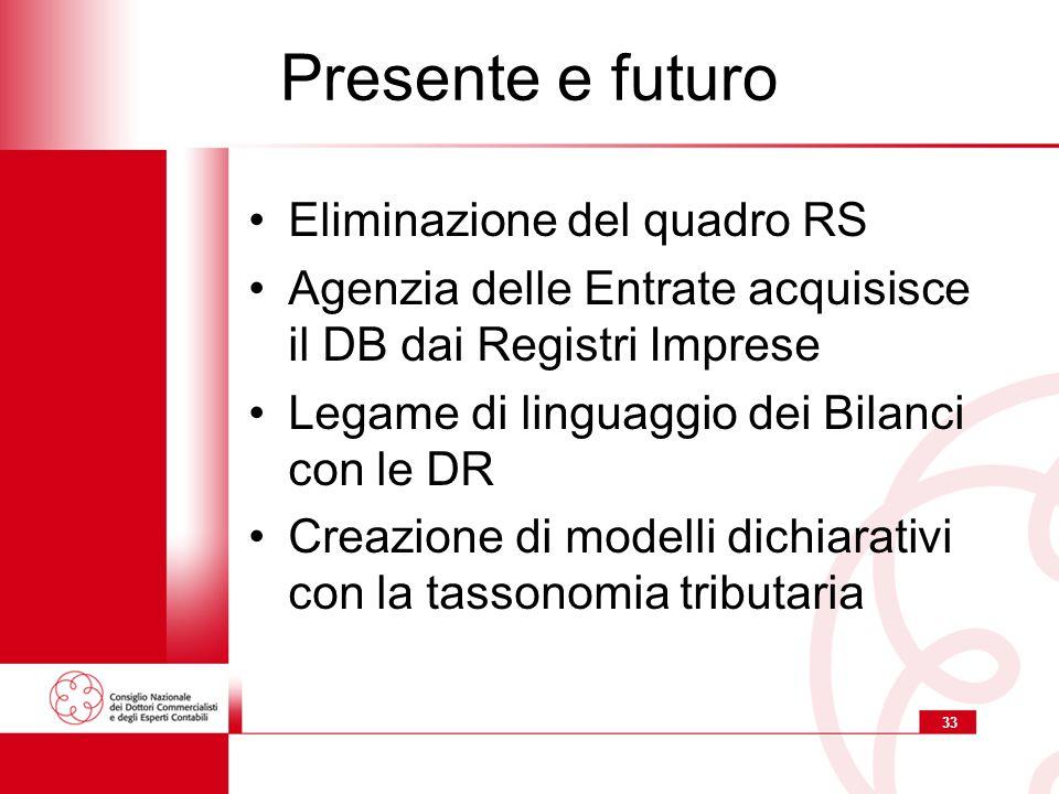 33 Presente e futuro Eliminazione del quadro RS Agenzia delle Entrate acquisisce il DB dai Registri Imprese Legame di linguaggio dei Bilanci con le DR Creazione di modelli dichiarativi con la tassonomia tributaria