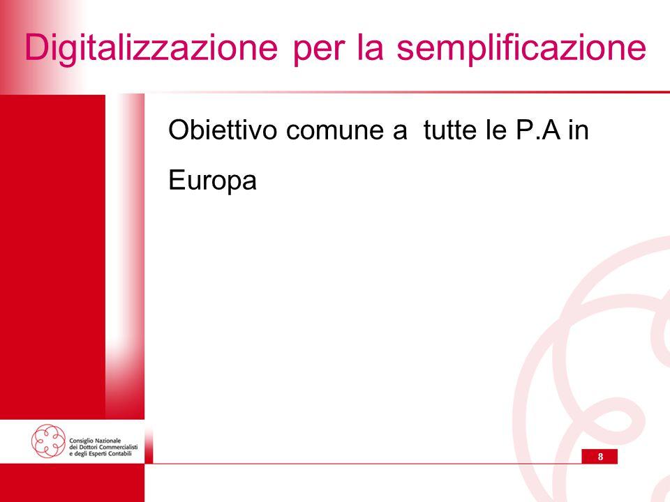 8 Digitalizzazione per la semplificazione Obiettivo comune a tutte le P.A in Europa