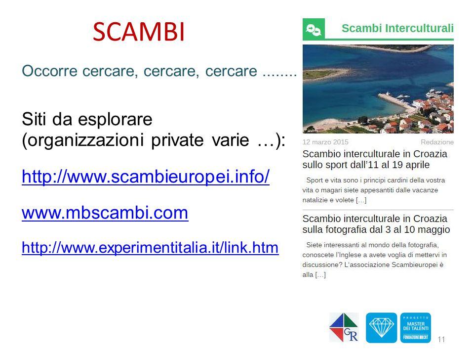 Siti da esplorare (organizzazioni private varie …): http://www.scambieuropei.info/ www.mbscambi.com http://www.experimentitalia.it/link.htm 11 Occorre