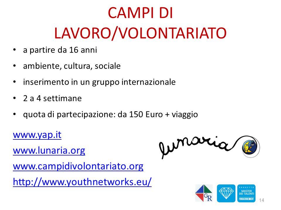 CAMPI DI LAVORO/VOLONTARIATO a partire da 16 anni ambiente, cultura, sociale inserimento in un gruppo internazionale 2 a 4 settimane quota di partecip