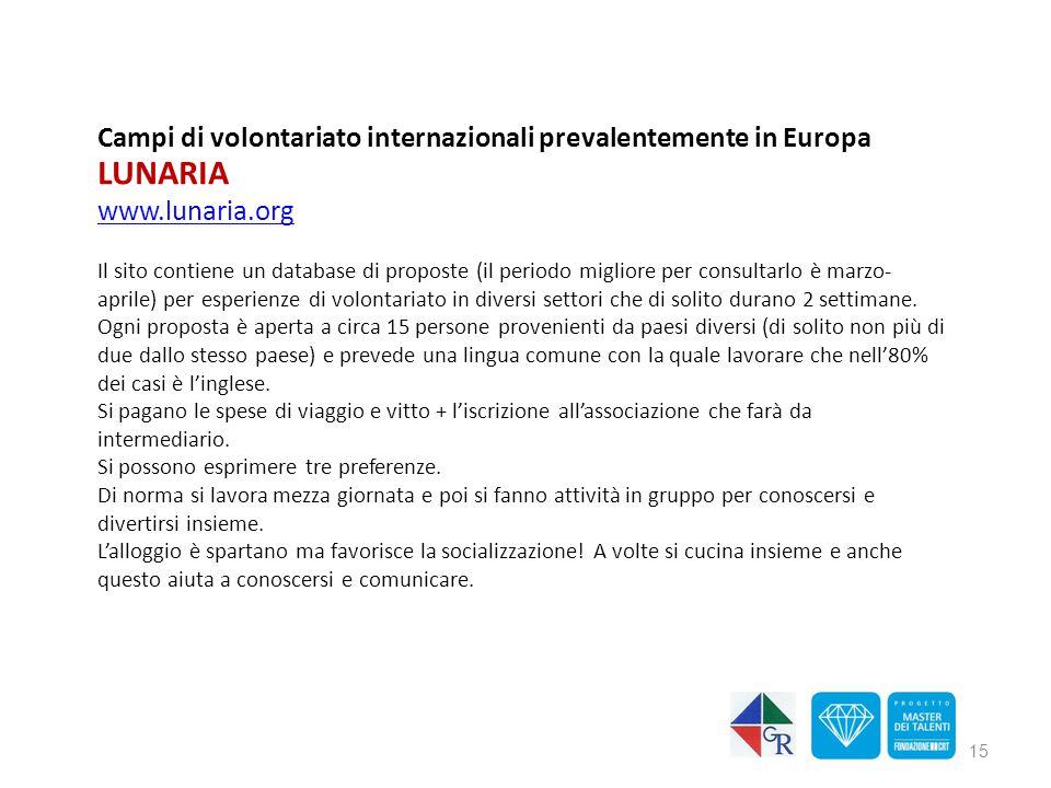 Campi di volontariato internazionali prevalentemente in Europa LUNARIA www.lunaria.org Il sito contiene un database di proposte (il periodo migliore p