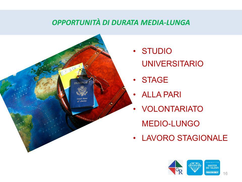 OPPORTUNITÀ DI DURATA MEDIA-LUNGA STUDIO UNIVERSITARIO STAGE ALLA PARI VOLONTARIATO MEDIO-LUNGO LAVORO STAGIONALE 16