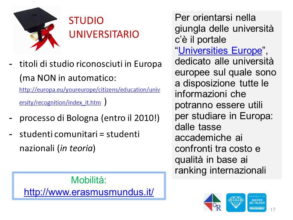 STUDIO UNIVERSITARIO -titoli di studio riconosciuti in Europa (ma NON in automatico: http://europa.eu/youreurope/citizens/education/univ ersity/recogn