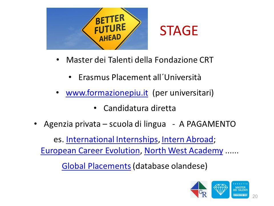 STAGE Master dei Talenti della Fondazione CRT Erasmus Placement all´Università www.formazionepiu.it (per universitari) www.formazionepiu.it Candidatu