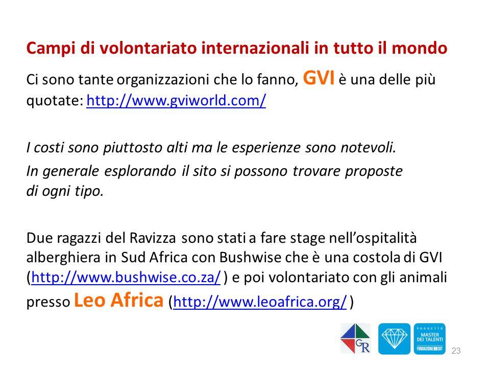 Campi di volontariato internazionali in tutto il mondo Ci sono tante organizzazioni che lo fanno, GVI è una delle più quotate: http://www.gviworld.com