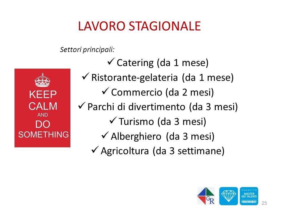LAVORO STAGIONALE Settori principali: Catering (da 1 mese) Ristorante-gelateria (da 1 mese) Commercio (da 2 mesi) Parchi di divertimento (da 3 mesi)