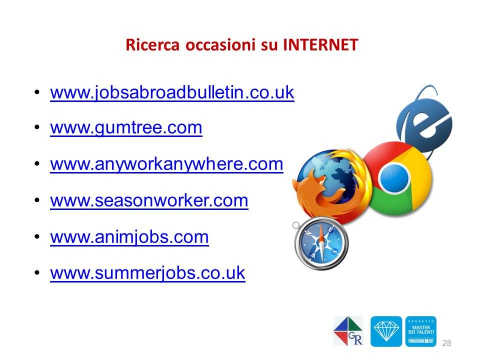 Ricerca occasioni su INTERNET www.jobsabroadbulletin.co.uk www.gumtree.com www.anyworkanywhere.com www.seasonworker.com www.animjobs.com www.summerjob