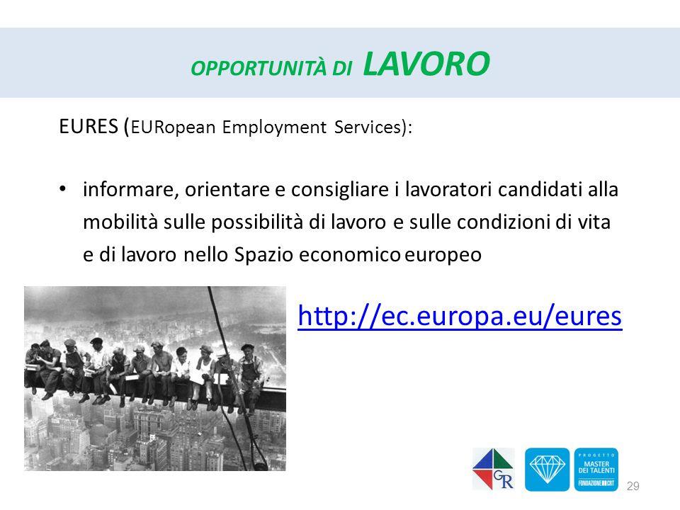 OPPORTUNITÀ DI LAVORO EURES ( EURopean Employment Services): informare, orientare e consigliare i lavoratori candidati alla mobilità sulle possibilità