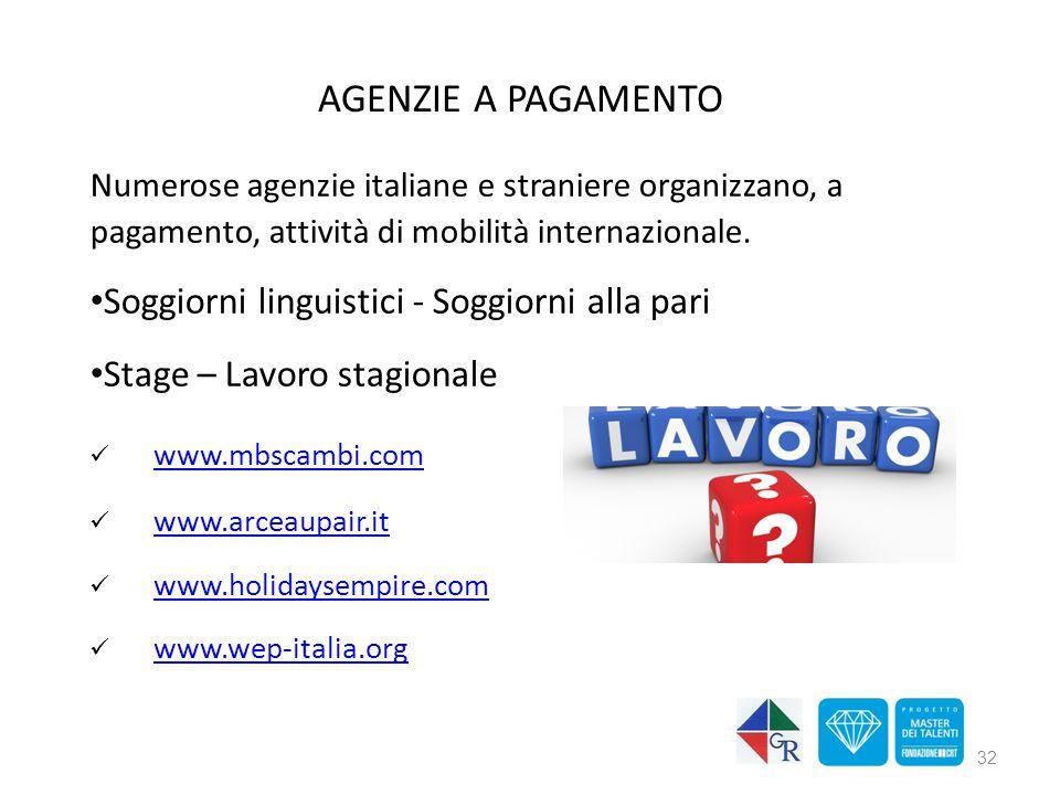 AGENZIE A PAGAMENTO Numerose agenzie italiane e straniere organizzano, a pagamento, attività di mobilità internazionale. Soggiorni linguistici - Soggi