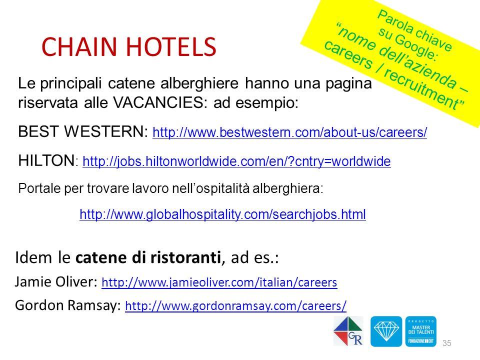 CHAIN HOTELS Idem le catene di ristoranti, ad es.: Jamie Oliver: http://www.jamieoliver.com/italian/careers http://www.jamieoliver.com/italian/careers