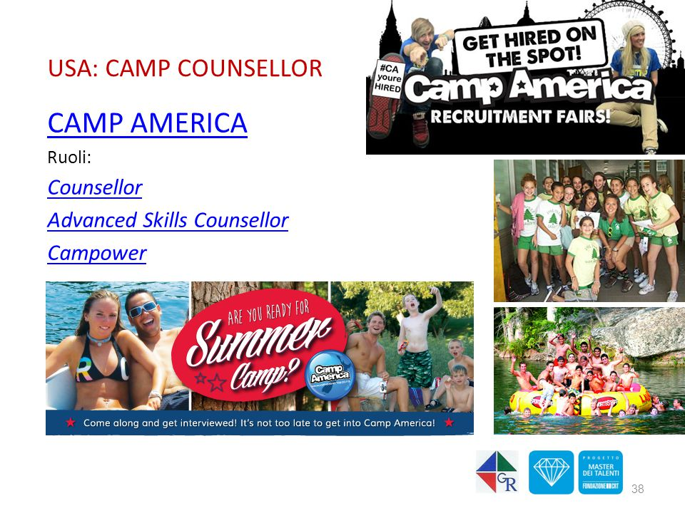 USA: CAMP COUNSELLOR CAMP AMERICA Ruoli: Counsellor Advanced Skills Counsellor Campower 38