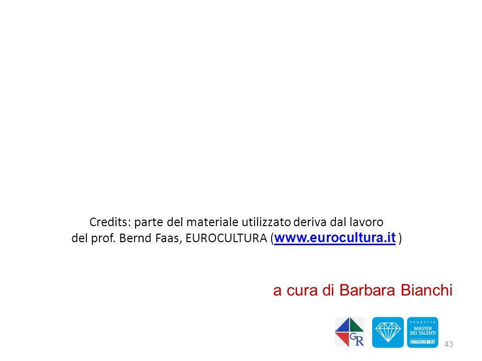 Credits: parte del materiale utilizzato deriva dal lavoro del prof. Bernd Faas, EUROCULTURA ( www.eurocultura.it ) www.eurocultura.it 43 a cura di Bar