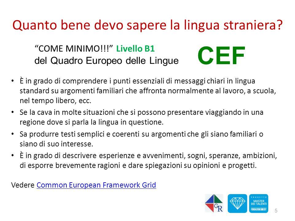 """5 Quanto bene devo sapere la lingua straniera? """"COME MINIMO!!!"""" Livello B1 del Quadro Europeo delle Lingue È in grado di comprendere i punti essenzial"""