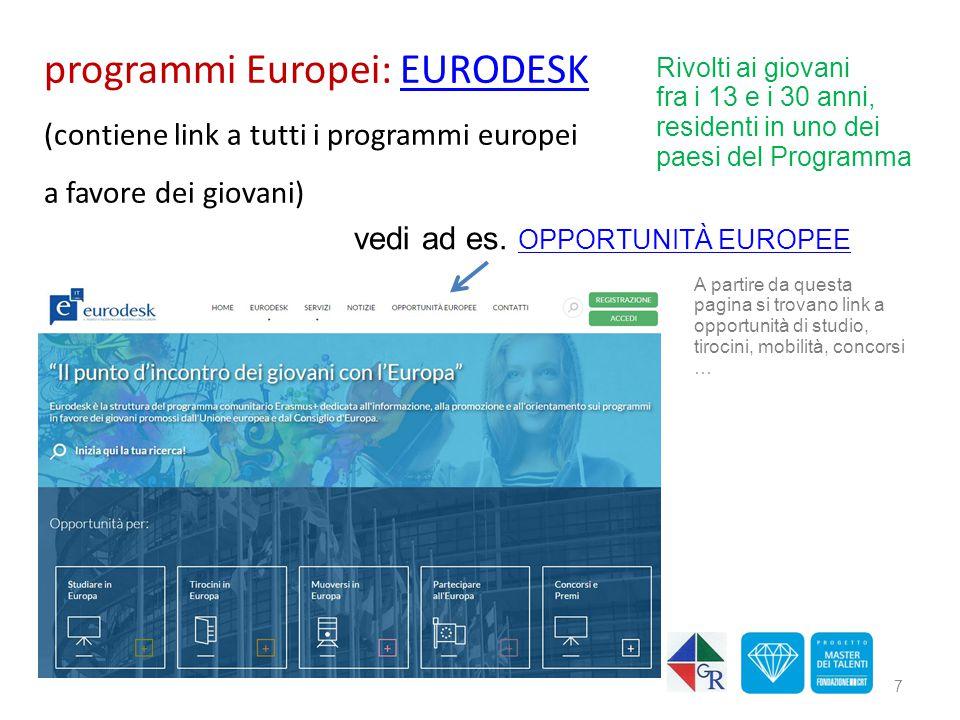 programmi Europei: EURODESKEURODESK (contiene link a tutti i programmi europei a favore dei giovani) 7 Rivolti ai giovani fra i 13 e i 30 anni, reside